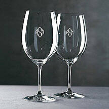 Monogrammed Riedel Vinum Cabernet / Merlot / Bordeaux Wine Glasses (Diamond Block) (Set of 2)
