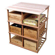 Sonoma Designer Wine Rack Kit - Double Deep Wood Case w / Table Top