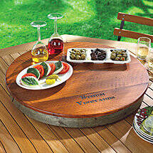 Personalized Raised Wine Barrel Lazy Susan