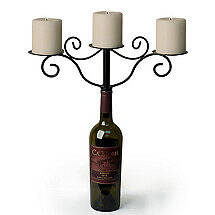 Wine Bottle Candelabra - Antiqued Finish