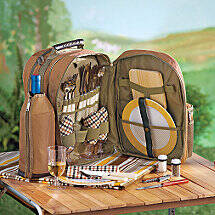 Wine Picnic Backpack Set for Four (Tan)