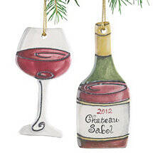 Personalized Red Wine Bottle and Wine Glass Ornament (Set of 2)