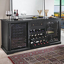 Siena Wine Credenza (Nero) with Wine Refrigerator