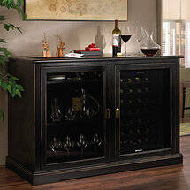 Siena Mezzo Wine Credenza (Nero) with Two Wine Refrigerators