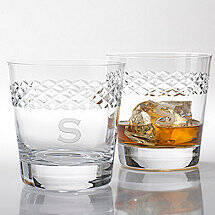 Personalized Double Old Fashioned Glasses With Diamond Band (Set of 4)