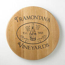 Authentic Barrel Head Wall Plaque Personalized with Chianti Fiasco Basket