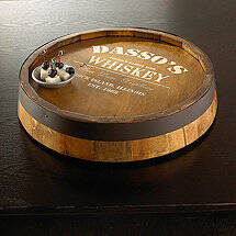 Personalized Quarter Barrel Top with Whiskey Graphic Lazy Susan