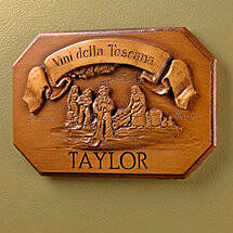 Personalized Vini Della Toscana Label Wall Plaque (Brown)
