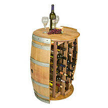 28 Bottle Wine Barrel Wine Rack with Barrel Head Top