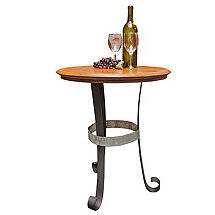 Reclaimed Wine Barrel Head End Table with Iron Base