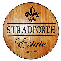 Personalized Reclaimed Wine Barrel Head with Estate and Fleur de Lis
