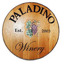 Personalized Reclaimed Wine Barrel Head with Winery and Grapes