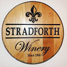 Personalized Reclaimed Wine Barrel Head with Winery and Fleur de Lis