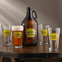 Personalized Yellow Tavern Beer Set (1 Growler & 4 Glasses)