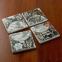 Personalized Italian Marble World Map Coasters (Set of 4)