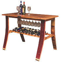 Reclaimed Wine Barrel Stave Tasting Table with Wine & Stem Storage