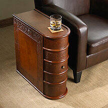 Leather Book Side Table