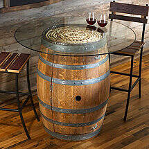 Reclaimed Wine Barrel Pub Table with Glass Top