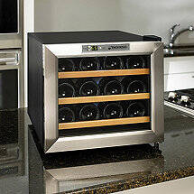 Wine Enthusiast Silent 12 Bottle Wine Refrigerator (Stainless Steel Trim Door) (Wood Front Shelves)