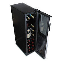 Wine Enthusiast Silent 18 Bottle Dual Zone Wine Refrigerator Slimline with Upright Bottle Storage