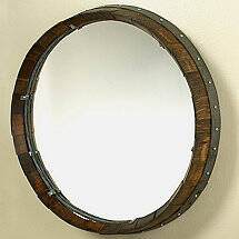 Reclaimed Barrel Head Mirror