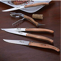 Laguiole Olivewood Five Piece Wine Opener and Steak Knife Set