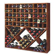 Jumbo Bin Grid 100 Bottle Wine Rack (Walnut)