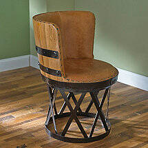Tequila Barrel Stave Dining Chair with Leather Seat