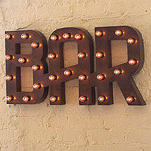 Vintage Bar Sign Lighted (Weathered)