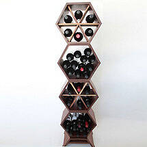 Honeycomb Modular Wine Rack 4 Piece (Walnut)