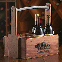 Personalized 6 Bottle Wooden Wine Caddy