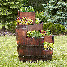 Reclaimed Three-Tier Barrel Planter