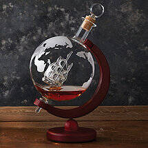 Globe Whiskey Decanter with Antique Ship