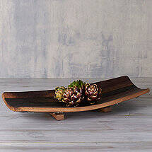 Rectangle Wine Barrel Stave Tray with Feet