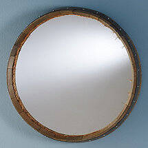 Reclaimed Wine Barrel Head Mirror with Rope Detail