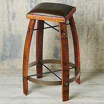 Vintage Oak Wine Barrel Bar Stool 24 Inches with Chocolate Leather Seat