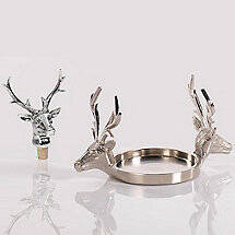 Double Stag Head Coaster and Stopper Set