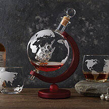 Globe Whiskey Decanter with Antique Ship & Glasses Set