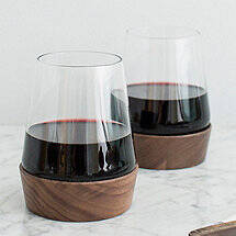 Wine Tumbler with Wood Base