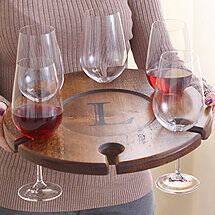 Personalized Wine Glass Carrier with 6 Fusion Table Wine Glasses