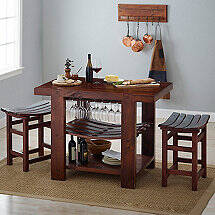 Napa Valley Kitchen Island and Stool Set (Pine Finish)