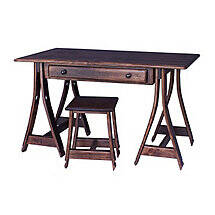 Saw Horse Desk with Barrel Stave Legs