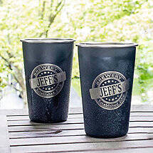 Personalized Black Stainless Steel Pint Glasses (Set of 2)
