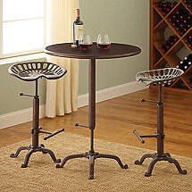 Industrial Pub Table and Tractor Stool Set