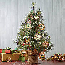 Tabletop Pre-Lit Christmas Tree with Ornaments