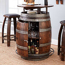 Vintage Oak Wine Barrel Bistro Table & Bar Stools (Whiskey Finish)