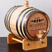 Personalized Mini Oak Barrel with Wine Graphic