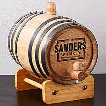 Personalized Mini Oak Barrel with Whiskey Graphic