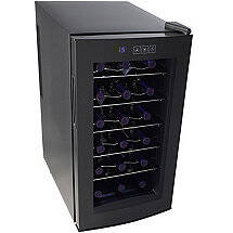 Wine Enthusiast Silent 18 Bottle Touchscreen Wine Refrigerator with Curved Door