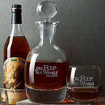 Old Rip Van Winkle Bourbon Decanter and Glass Set